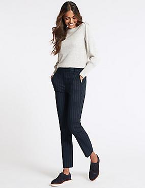 Pin Stripe Slim Leg Trousers, NAVY MIX, catlanding