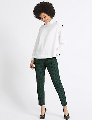 Jacquard Print Cropped Slim Leg Trousers, GREEN MIX, catlanding
