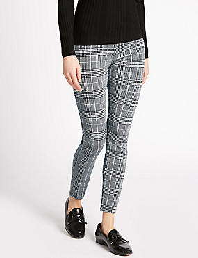 Checked Skinny Trousers, BLACK MIX, catlanding
