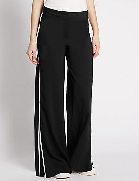 Flat Front Wide Leg Trousers, BLACK MIX, catlanding