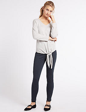 Striped Skinny Leg Trousers, NAVY MIX, catlanding