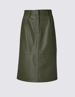Зауженная юбка-миди А-силуэта из искусственной кожи