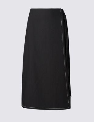 Юбка А-силуэта с запахом и контрастной строчкой M&S Collection T595225