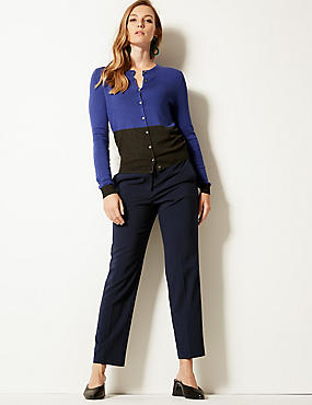 Straight Leg Trousers, DARK NAVY, catlanding