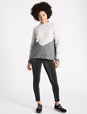 Sparkly Skinny Leg Trousers, SILVER MIX, catlanding
