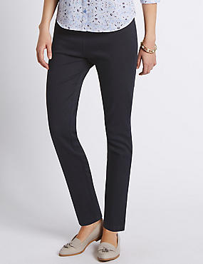 Pull On Textured Tapered Leg Trousers, NAVY, catlanding