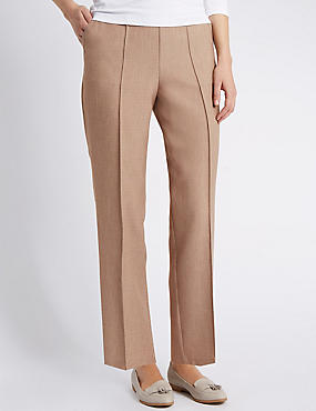 Pull On Textured Tapered Leg Trousers, MINK, catlanding