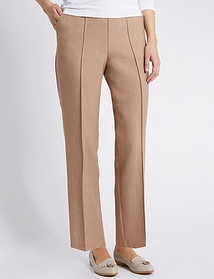 Pull On Textured Tapered Leg Trousers, MINK, catlanding