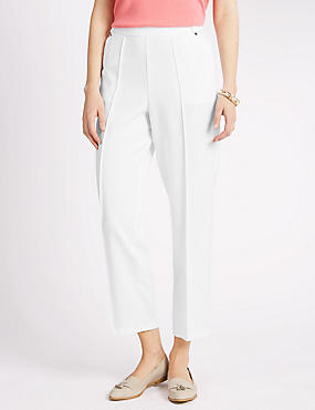 Pull On Textured Tapered Leg Trousers, WHITE, catlanding