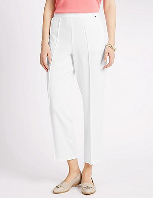 Pull On Textured Tapered Leg Trousers, WHITE, catlanding