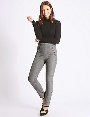 Checked Skinny Leg Trousers, BLACK MIX, catlanding