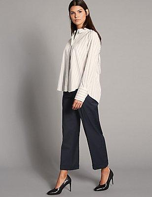 Wool Blend Straight Leg Trousers, NAVY, catlanding