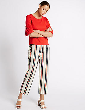 Cotton Rich Striped Straight Leg Trousers, CREAM MIX, catlanding