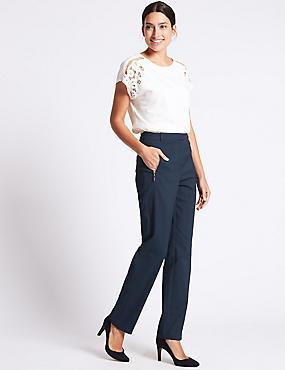 Pantalon droit en coton mélangé, BLEU MARINE, catlanding