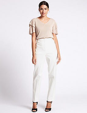 Pantalon droit en coton mélangé, BLANC DOUX, catlanding