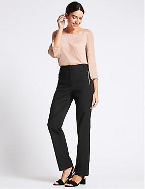 Pantalon droit en coton mélangé, NOIR, catlanding