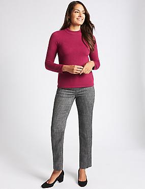 Tweed Textured Straight Leg Trousers, GREY MIX, catlanding
