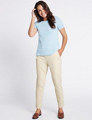 Textured Tapered Leg Trousers, NEUTRAL, catlanding
