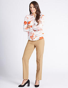 Flannel Straight Leg Trousers, DARK CAMEL, catlanding