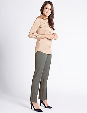 Flannel Straight Leg Trousers, DARK GREY, catlanding