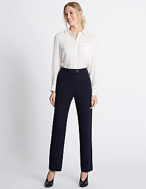 Straight Leg Trousers, NAVY MIX, catlanding