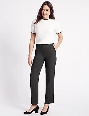 Textured Straight Leg Trousers, BLACK MIX, catlanding