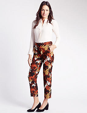 Smudge Print Straight Leg Trousers, BROWN MIX, catlanding