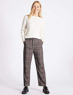 Checked Straight Leg Trousers, RED MIX, catlanding