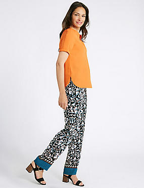 Floral Print Straight Leg Trousers, BLACK MIX, catlanding