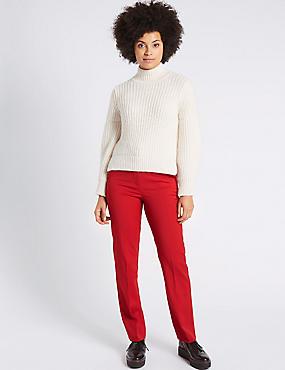 Wool Blend Straight Leg Trousers, RED, catlanding