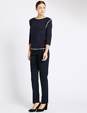 Zipped Pocket Straight Leg Trousers, NAVY, catlanding