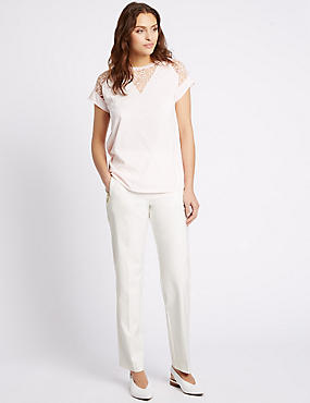 Zipped Pocket Straight Leg Trousers, IVORY, catlanding