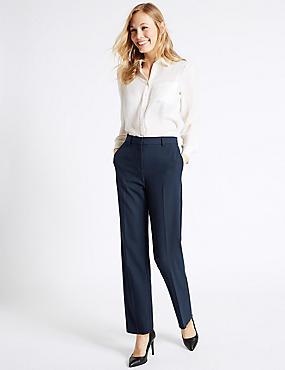 Pantalon droit à motif en relief, BLEU MARINE, catlanding