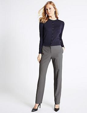 Pantalon droit à motif en relief, GRIS, catlanding