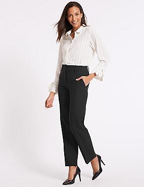 Straight Leg Trousers, BLACK, catlanding