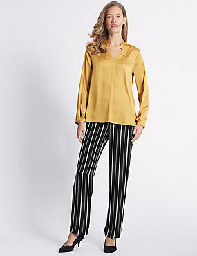 Striped Straight Leg Trousers , BLACK MIX, catlanding
