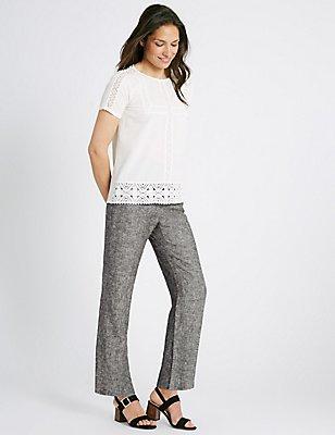 Linen Rich Straight Leg Trousers, GREY MIX, catlanding