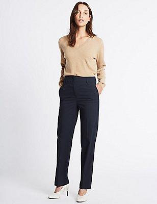 Pinstripe Straight Leg Trousers, NAVY MIX, catlanding