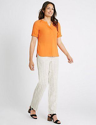 Linen Rich Striped Straight Leg Trousers, IVORY MIX, catlanding