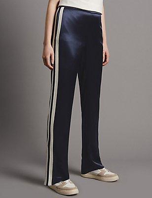 Side Stripe Straight Leg Trousers, NAVY MIX, catlanding