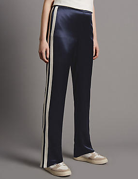 Side Stripe Straight Leg Trousers, NAVY MIX, catlanding