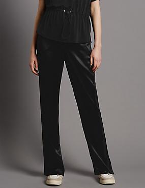 Hose mit geradem Bein und seitlichem Streifenmuster, SCHWARZ MELANGE, catlanding