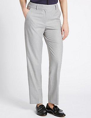 Pinstripe Straight Leg Trousers, GREY MIX, catlanding