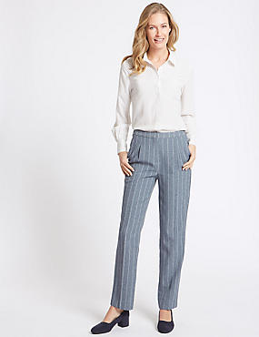 Striped Straight Leg Trousers, BLUE MIX, catlanding