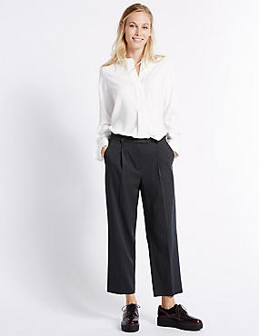 Spotted Straight Leg Trousers, NAVY MIX, catlanding