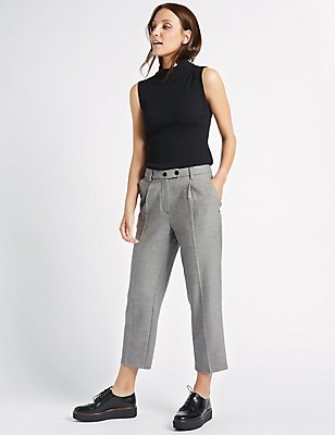 Checked Cropped Straight Leg Trousers, GREY MIX, catlanding