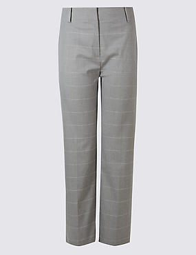 PLUS Checked Straight Leg Trousers, GREY MIX, catlanding