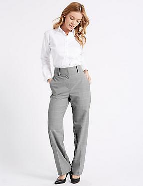 Pantalon coupe droite à carreaux, GRIS ASSORTI, catlanding