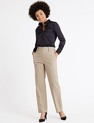 Checked Straight Leg Trousers, NATURAL MIX, catlanding