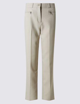 Прямые текстурные брюки с карманами на молнии
